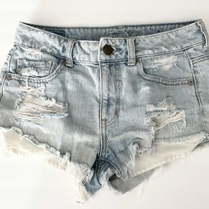 America Eagle Distressed Light Washed Shorts